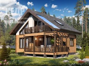 Загородный дом из профилированного бруса c мансардой и
